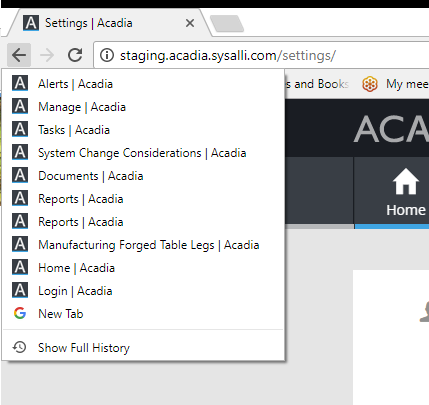 Acadia Page titles in web browser