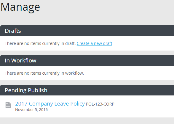 Pending Publish Manage section